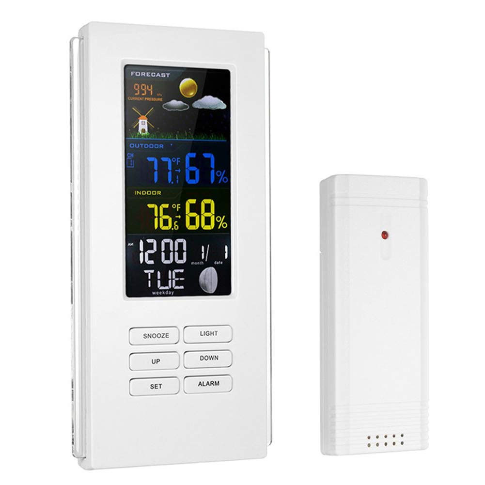 Traioy Wireless Digital Weather Station Thermometer Hygrometer Backlight Precision Display Temperature Clock, Suitable for Indoor and Outdoor,White