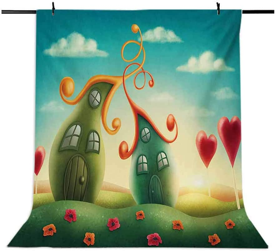 Teen Girls 6.5x10 FT Photo Backdrops,Fantasy Houses in The Meadow Heart Shaped Trees in a Dreamy Countryside Print Background for Child Baby Shower Photo Vinyl Studio Prop Photobooth Photoshoot
