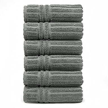 Luxury Hotel & Spa Towel 100% Genuine Turkish Cotton Hand Towels - Gray - Striped - Set of 6