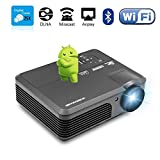 Wireless Projector Wifi Bluetooth 3200 Lumens (2017 Updated), Portable HD LED Projector 1080p Support, Digital Home Theater Cinema Projector Indoor Outdoor Movie Game with HDMI USB TV Audio AV Ports
