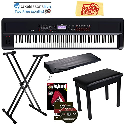 Korg Kross 2 Synthesizer Workstation Bundle with Furniture Bench, Adjustable Stand, Dust Cover, Instructional Book, Online Lessons, Austin Bazaar Instructional DVD, and Polishing Cloth