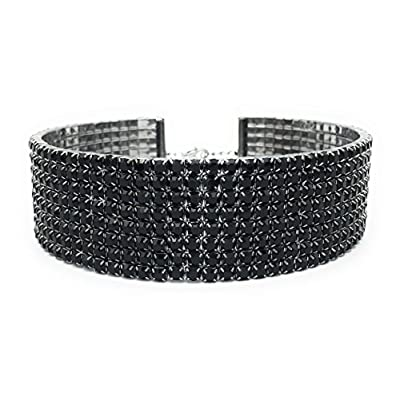 "nice Black Rhinestone Choker 3 5 8 Row by LuxeLife – Women's Crystal Necklace Diamond Collar with 5"" Extender free shipping"