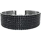 """LuxeLife Black Rhinestone Choker 8 Row Women's Crystal Necklace Diamond Collar with 5"""" Extender - Classic Fashion Jewelry Accessories – Matches Earrings, Bracelets and Rings Flawlessly"""
