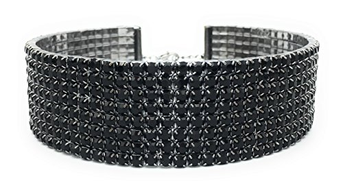 LuxeLife Black Rhinestone Choker 8 Row Women's Crystal Necklace Diamond Collar with 5
