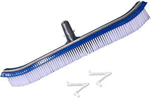 Daveyspa Heavy Duty Wall and Floor Pool Brush 18''Aluminium Swimming Pool Cleaning Brush with a Polished Aluminum Back