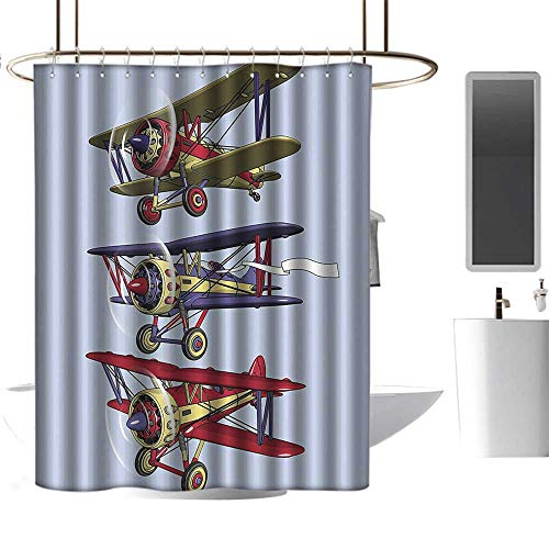 Shower Curtains Airplane Decor Collection,Three Biplanes Flies on a Background of Sky Ink Paint Old Fashioned Model Higher Travel Image,Blue Washable Home Decoration Bath Curtains W84 xH72 inch ()