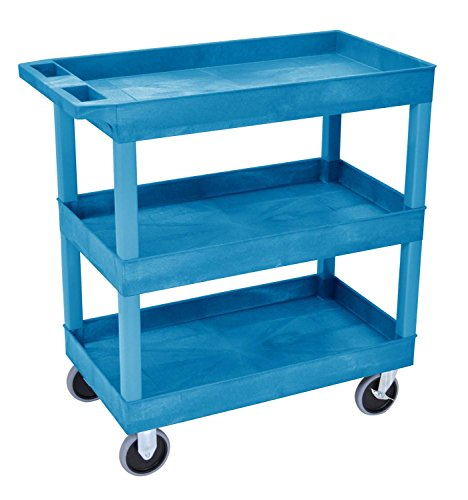 Luxor/H.Wilson HD High Capacity 3 Tub Shelves Cart in Blue (EC111HD-BU)