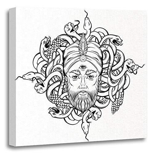 Emvency Painting Canvas Print Artwork Decorative Print Fortune Teller with Three Eyes and Bunch Snakes Hand Sketched Creative Wooden Frame 16x16 inches Wall Art for Home Decor