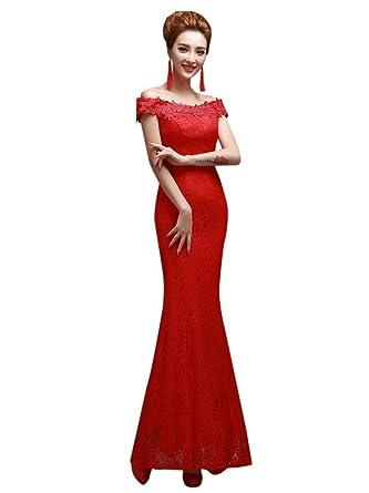 Drasawee Damen Schlauch Kleid Gr. 30, Red 1#