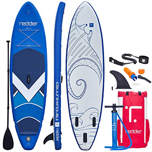 """redder Inflatable Stand Up Paddle Board Utopia 10'5"""" All Round/Surf ISUP with Bravo SUP4 Double Action Hand Pump, 3 Piece 100% Carbon Paddle, 10' Leash, Portable Backpack and Repair Kit"""