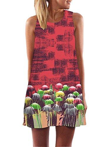 Azbro Mujer Mini Moda Vestido Suelto Pullover sin Mangas Estampado rojo&verde