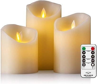 Air Zuker Velas LED con llama móvil - Funda de efecto llama velas de cera con LED con 10 Key mando a distancia y temporizador [Stumpenkerze clásica, marfil color] - 3 Pack: Amazon.es: Iluminación