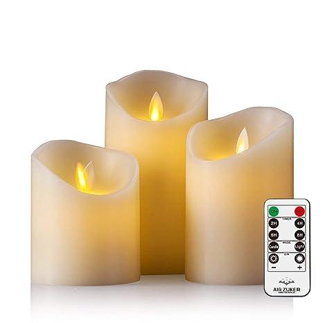 Batteriebetriebene Kerzen Mit Beweglicher Flamme.Air Zuker Led Kerzen Mit Beweglicher Flamme Echt Flammen Effekt Led Echtwachskerzen Mit 10 Key Fernbedienung Und Timer Klassische Stumpenkerze