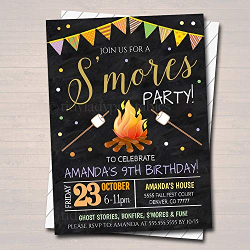 Halloween Bonfire Invitations (S'Mores Birthday Invitation, Fall Harvest Bonfire Invite, Backyard Party Invite, EDITABLE Printable Invitation Kid's Halloween S'Mores)