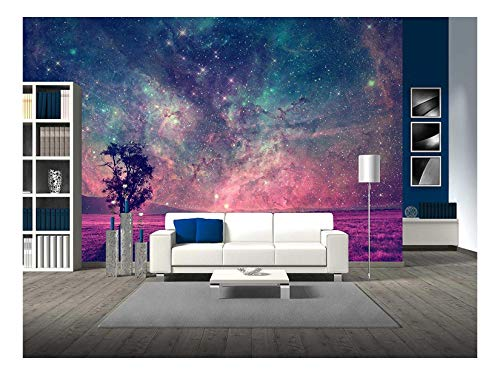 wall26 - Red Alien Landscape with Alone Tree Silhouette in Purple Field - Removable Wall Mural | Self-adhesive Large Wallpaper - 100x144 inches