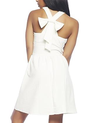 Amazon.com  Wet Seal Women s White Halter Skater Dress L White  Clothing b1dc929ed