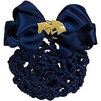 Haarnetz mit Satin Schleife und Brosche Pferdekopf (blau - silber)