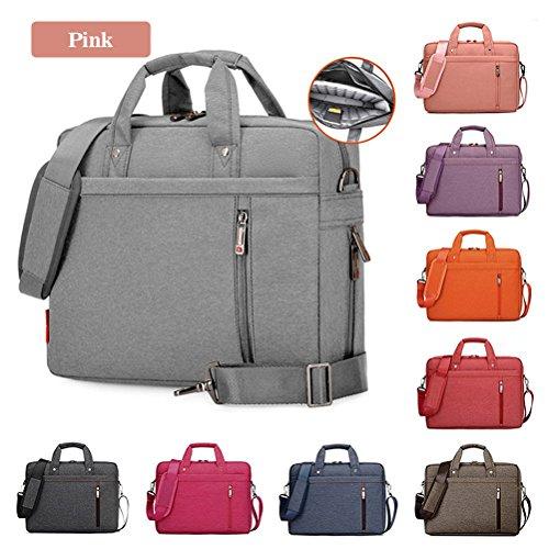 Samaz Shakeproof Nylon Laptop Messenger Shoulder Bag Case Briefcase for 13 - 17 Inch Laptop / Notebook / Ultrabook / Macbook Pro Retina Case (17 Inch, Pink)