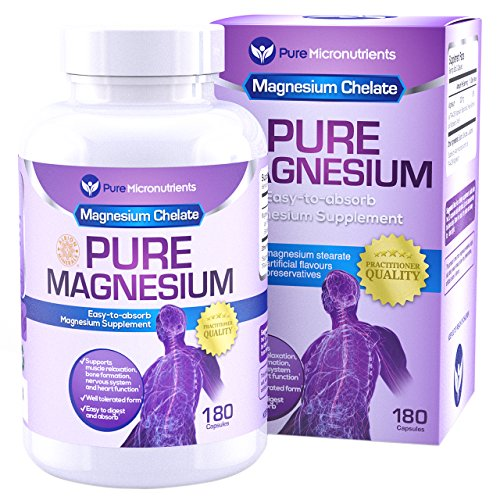 51jUxs8Y1dL - Pure Micronutrients Magnesium Glycinate Supplement (Chelated) 200mg, 180 Count