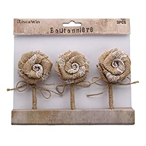 Wedding Decorations Small Burlap Flowers, RiscaWin Handmade Crafts Flowers Natural Hessian Flowers Burlap Lotus Dandelion Rose Vintage for DIY Craft Birthady Party Home Decoration Centerpieces-9 Pcs 2