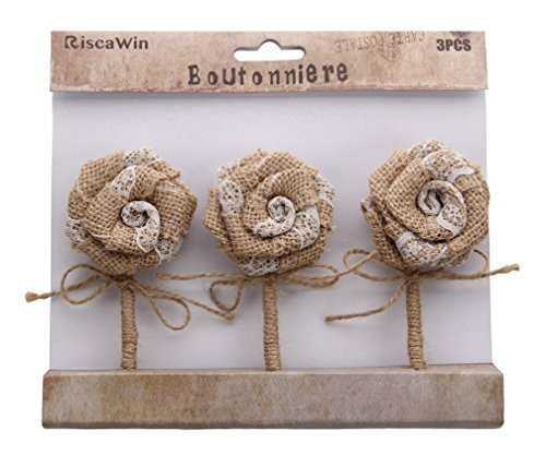 RiscaWin (3Pcs) Handmade Burlap Flowers Jute Lace Roses Flowers DIY Findings Shabby Chic Flower Boutonniere Wedding Flowers Groom Best Man