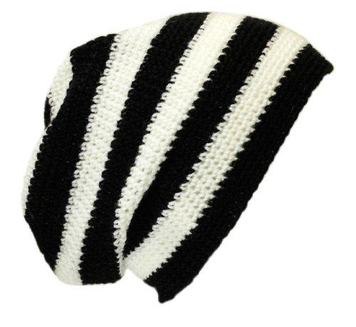 Crochet Baggy Beanie sombrero: Negro/Blanco