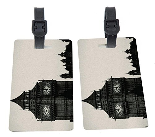 Vintage Big Ben Clock Tower Design Plastic Flexi Luggage Identifier Tags + Strap Closure -