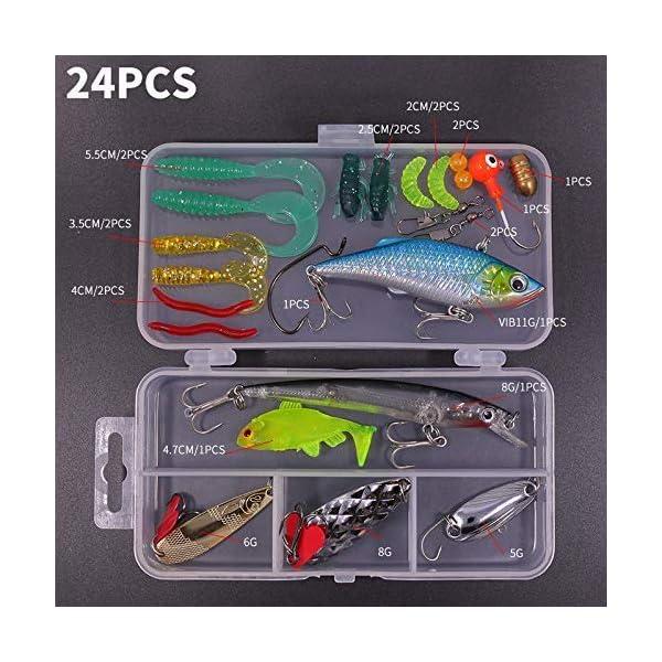 24Pcs Fresh Water Soft Fishing Bait Lures Plastic Worms Bass Fishing Lure Hook