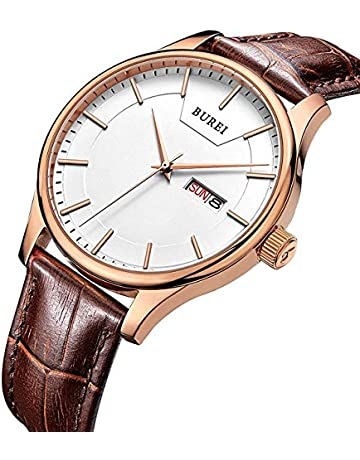 1f20589d36b BUREI Men s Precise Quartz Wrist Watches with Day and Date Calendar Rose  Gold Hands Leather Strap