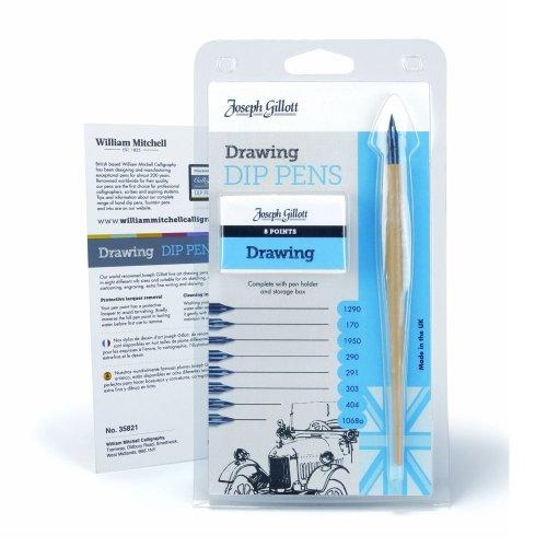 Joseph Gillott Ink Dip Pen 8 Nib Drawing Set Nib Art