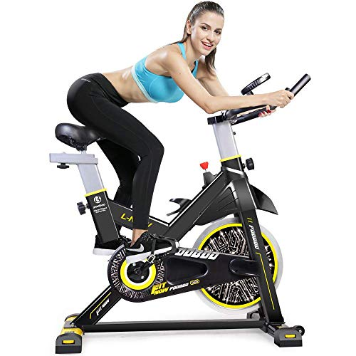 pooboo Indoor Cycling Bicycle, Belt Drive Indoor Exercise Bike,Stationary Exercise LCD Display Bicycle Heart Pulse Trainer Bike Bottle Holder by pooboo (Image #1)