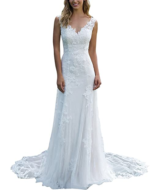WeddingDazzle Womens Off The Shoulder Wedding Gowns Lace Appliques Mermaid Wedding Dress with Sleeves