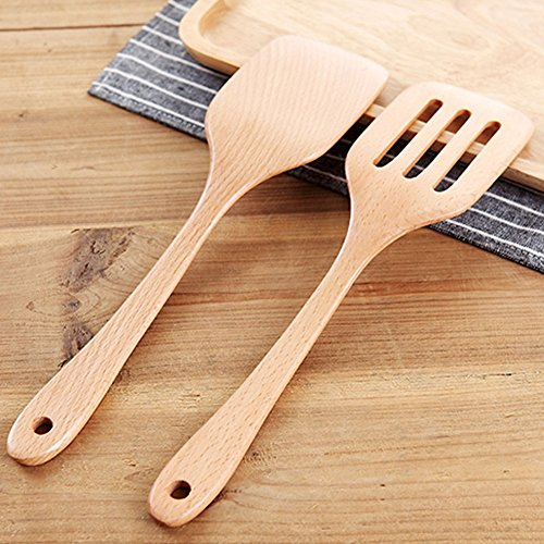 COSPRING Beechwood Spatulas Pair, Non Stick Wood Turners, Kitchen Handcrafted Spoon, Scoop Ladle, Pack of 2, Heat Resistant, Eco-friendly and Safe by Cospring (Image #5)