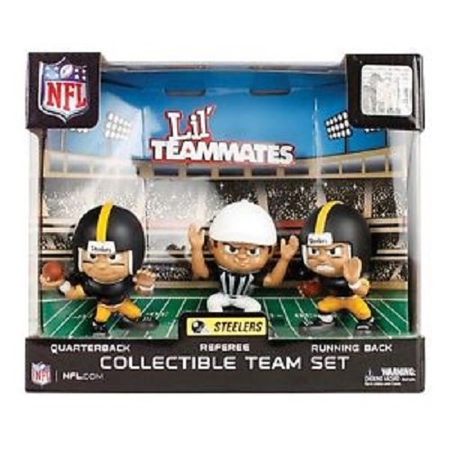 Party Animal Toys Lil' Teammates 3 Figurine Pittsburgh Steelers NFL Team Set (Pack of 3) -