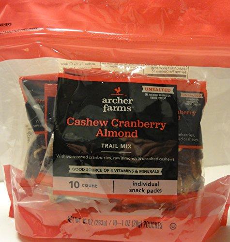 Cashew Cranberry Almond Trail Mix (10 Individual Packs - 1 oz. -