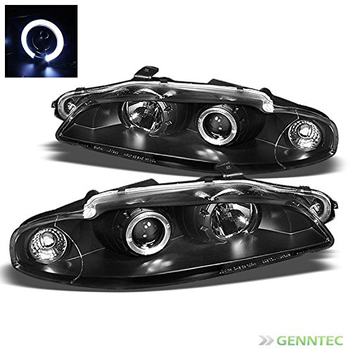 1997-1999 Mitsubishi Eclipse Halo Black Projector Headlights Lamp Pair Left+Right (Eclipse Halo Euro Projector Headlights)