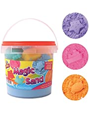 Sand Magic Play 1kg Play Tub Set Sand 6 Moulds Squeeze Sand