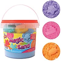 Sand Magic Play 1kg Play Tub Set 6 Fun Moulds Kinectic Squeeze Sand Present Gift