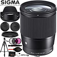 Sigma 16mm f/1.4 DC DN Contemporary Lens for Sony E - 6PC Accessory Bundle Includes 3PC Filter Kit (UV, CPL, FLD) + 5PC Cleaning Kit + Memory Card Wallet + Lens Cap Keeper + MORE