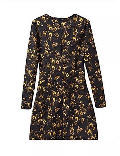 PU&PU Robe Aux femmes Gaine Street Chic,Imprimé Col Arrondi Au dessus du genou Coton , black-s , black-s