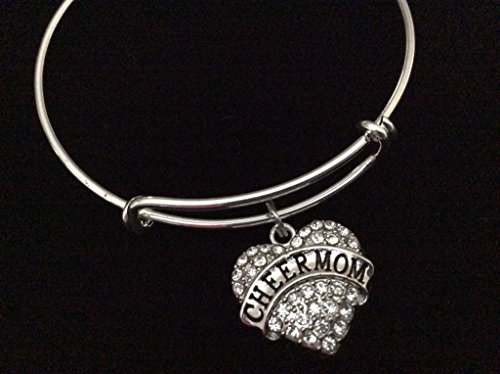 Mom Expandable Silver Charm Bracelet (Cheerleading Sterling Silver Bracelets)