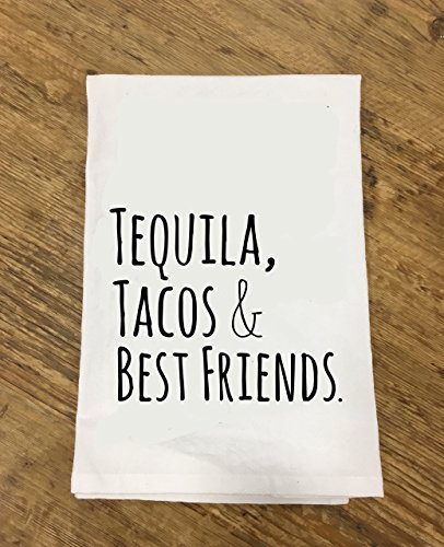 Funny Dishcloth/ Tea Towel ~ Tequila, Tacos, & Best Friends ~ Funny Kitchen Cloth.