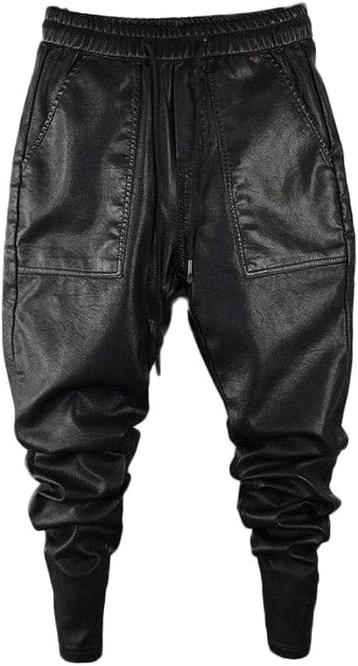Idopy Pantaloni Casual da Uomo in Ecopelle Slim Fit da Uomo