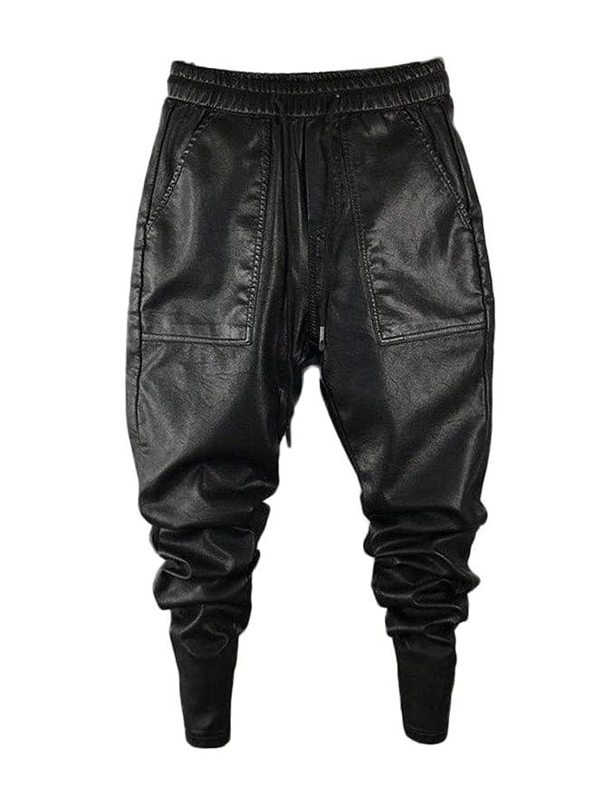 Idopy Pantalones de Cuero de imitación para Hombres Pantalones de ...