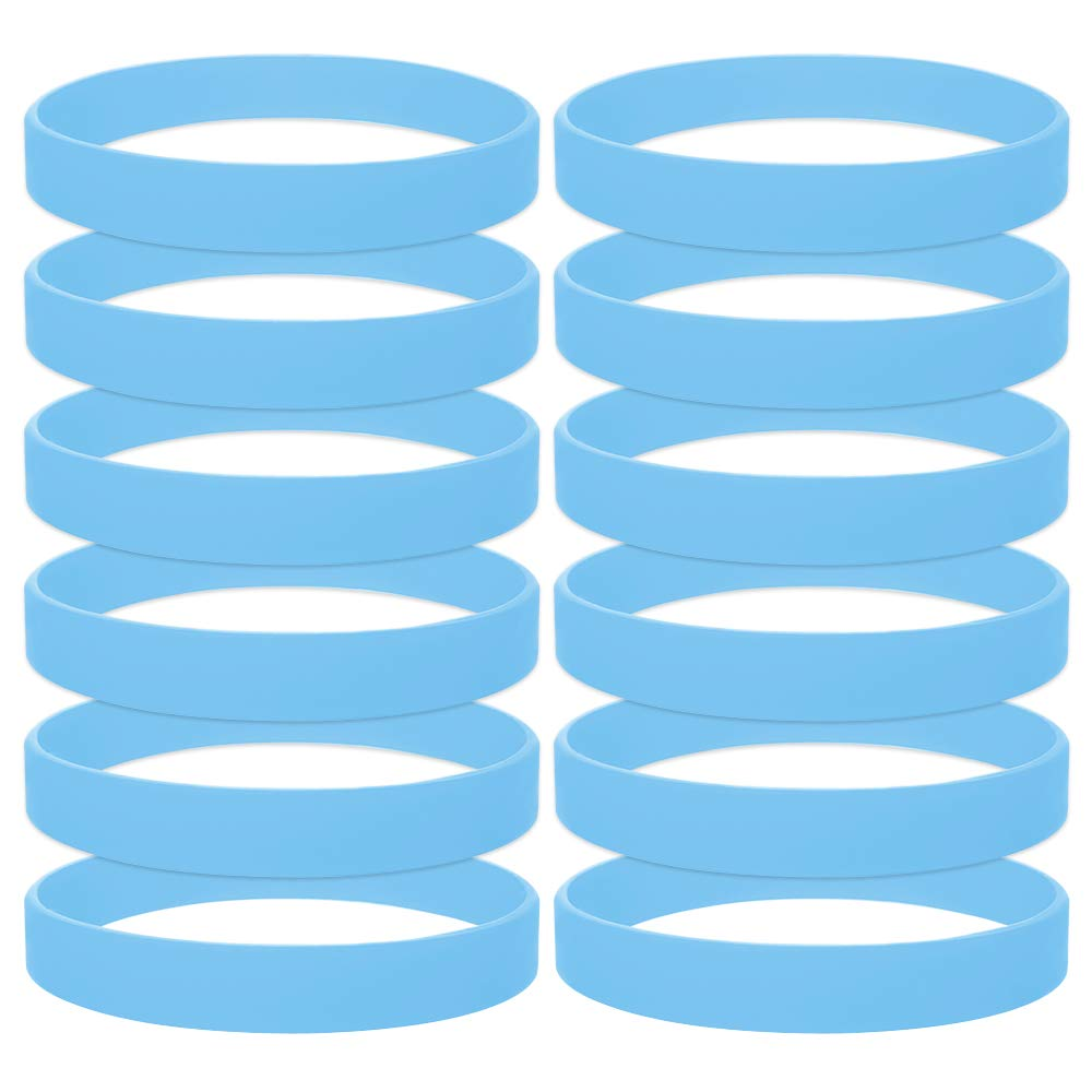 GOGO 12PCS Rubber Bracelets for Kids Silicone Rubber Wrist Bands for Events Party - Cambridgeblue