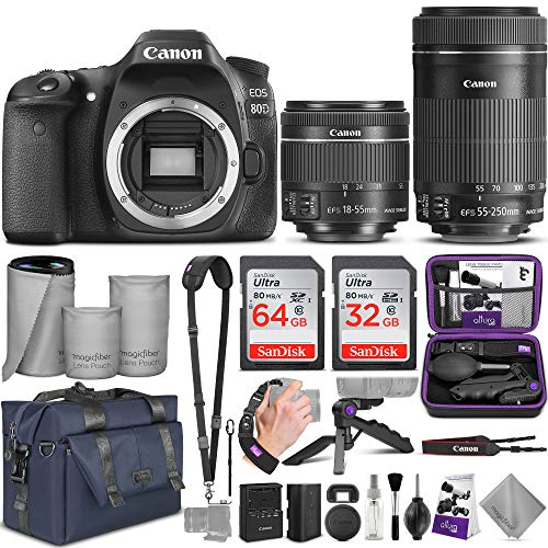 Canon EOS 80D DSLR Camera and Canon EF-S 18-55mm f/3.5-5.6 is STM + EF-S 55-250mm f/4-5.6 is STM Lens with Altura Photo Complete Accessory and Travel Bundle (Best Monopod For Dslr 2019)