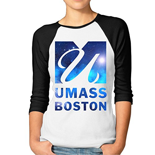 ElishaJ Women's University Of Massachusetts Boston Casual 3/4 Sleeves Raglan Tee Baseball Party Shirt - Black Size L -
