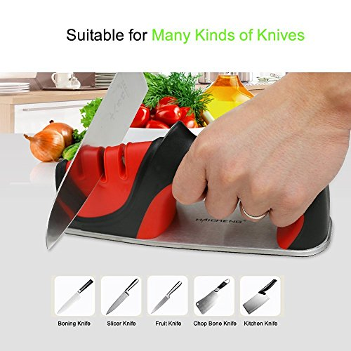 Haicheng Kitchen Knife Sharpener of 3 Stage Tungsten Steel and Ceramic Rod Sharpening System,Hand-Held,Non-Slip Base,Best for All Steel and Ceramic Knives