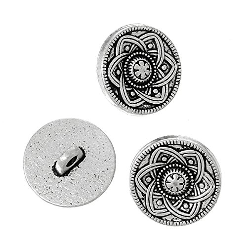 Metal Buttons Flower (PEPPERLONELY Brand 10PC Antique Silver Metal Shank Button Round Single Hole Flower Pattern 15mm)
