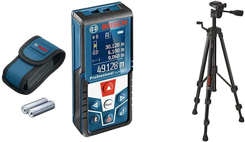 Bosch Professional Laser Entfernungsmesser Glm 50 C Max Messbereich 50 M 2x 1 5 V Batterien Schutztasche Baustativ Bt 150 55 157 Cm 1 5 Kg Stativ Gewinde 1 4 Zoll Baumarkt